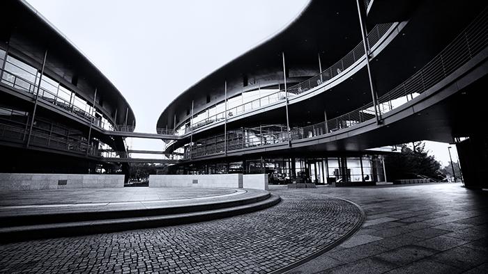 Clark center atrium BW